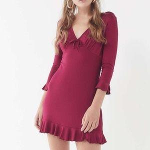 Urban-Outfitters Burgundy-Ruffle-Mini-Dress